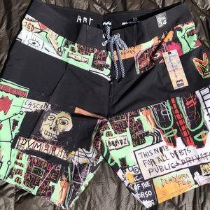 Billabong board shorts Jean-Michel Basquiat sz 34